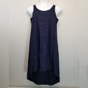 Eileen Fisher S Navy Blue Sleeveless Dress Hi Low